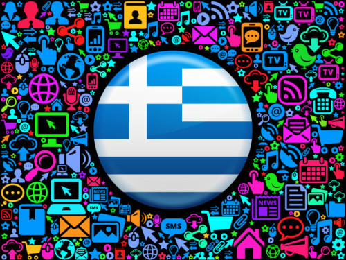 Greece Flag on Modern Technology & Communication